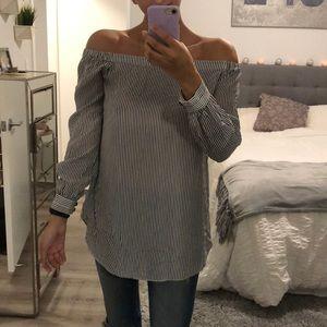 Black & white stripe off shoulder long blouse